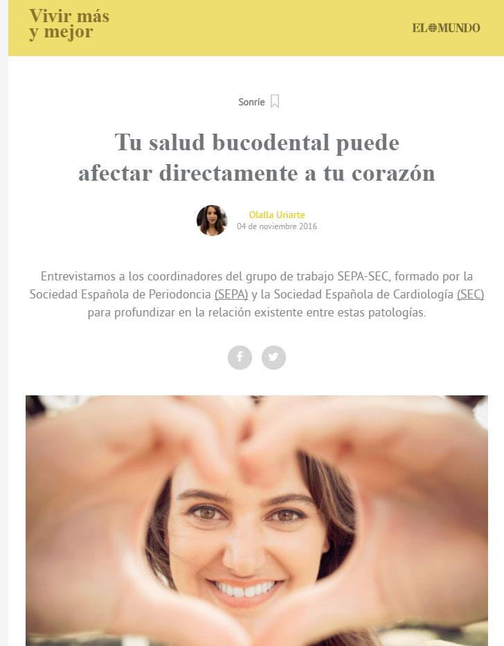 Entrevista en 'Vivir más y mejor' del diario El Mundo sobre salud bucodental y cardiovascular